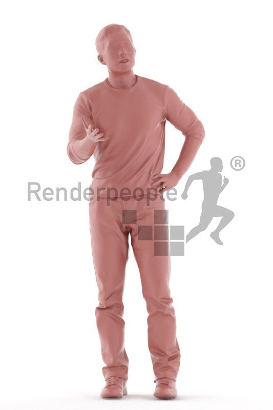 3D People model for 3ds Max and Blender – asian man in daily outfit, communicating, discussing