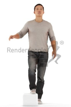 Posed 3D People model for renderings – casual dressed asian, walking upstairs
