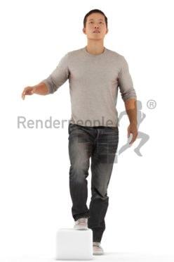 Posed 3D People model for renderings – casual dressed asian, walking upstairs