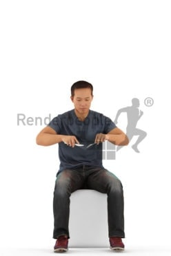 Photorealistic 3D People model by Renderpeople – asian man sitting and dining
