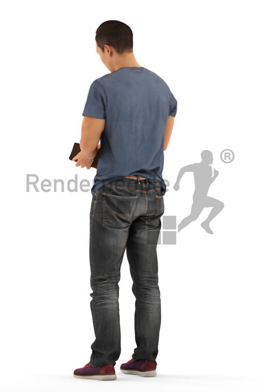 Posed 3D People model for visualization – asian man looking into his wallet, casual