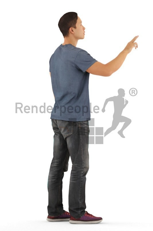 Scanned human 3D model by Renderpeople – asian man in daily outfit, pointing on something