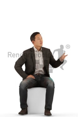 Posed 3D People model for visualization – asian man in business suit, sitting and communicating
