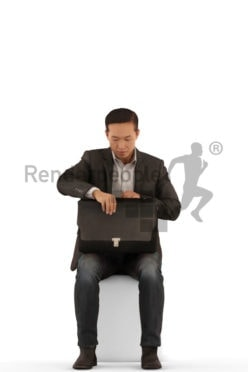 Scanned 3D People model for visualization – asian man in business clothes, sitting and searching for something in his bag