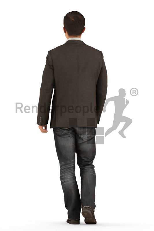 3D People model for 3ds Max and Sketch Up – asian male walking in business suit