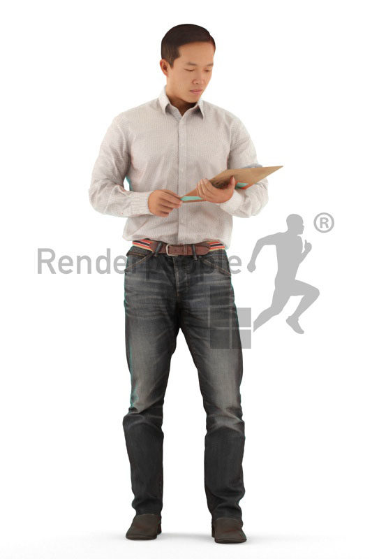 Realistic 3D People model by Renderpeople – asian man in office clothes, standing and reading something on the clipboard