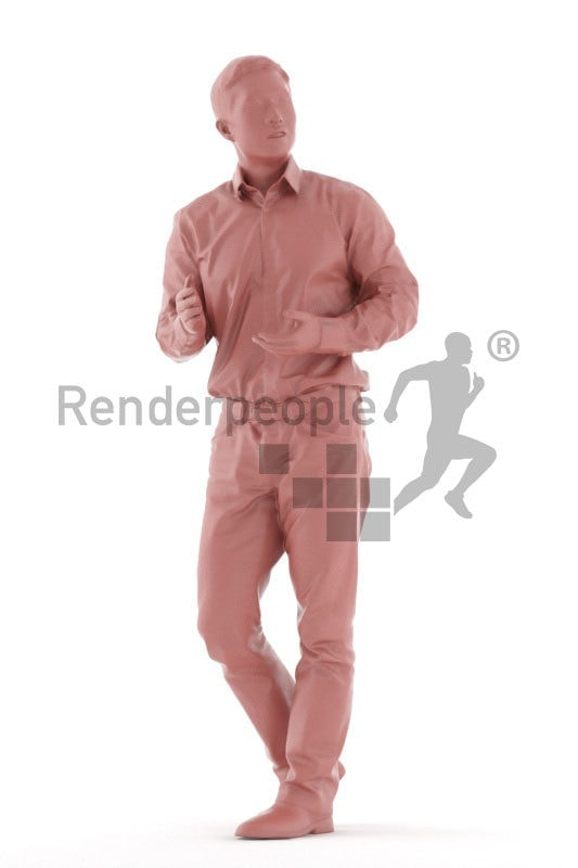 Realistic 3D People model by Renderpeople – asian man in business shirt, walking and communicating