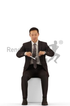 Photorealistic 3D People model by Renderpeople – asian male in business look, sitting and eating