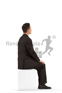 3D People model for 3ds Max and Blender – asian male in office look, sitting
