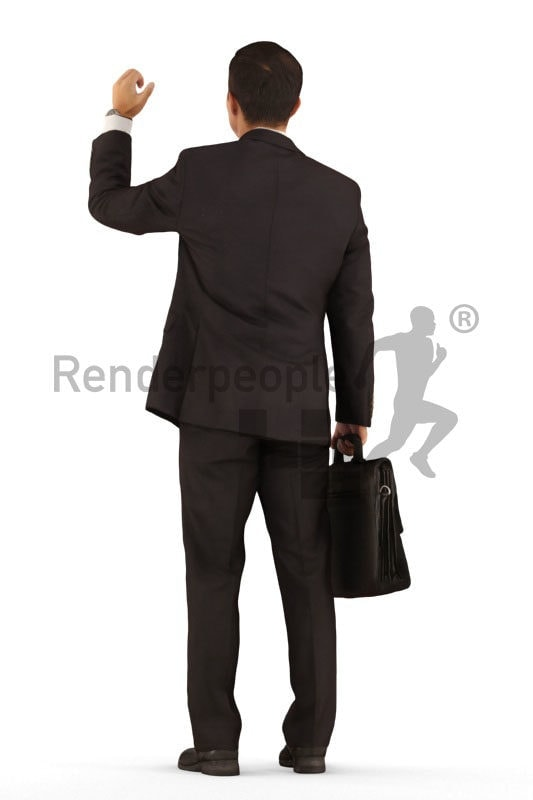 Scanned 3D People model for visualization – asian man in business suit, standing in the bus or train