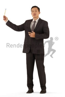 Posed 3D People model for visualization – asian man in office clothing, doing a presentation