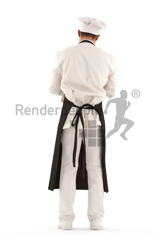 3D People model for 3ds Max and Sketch Up – asian male cook, standing and chopping something