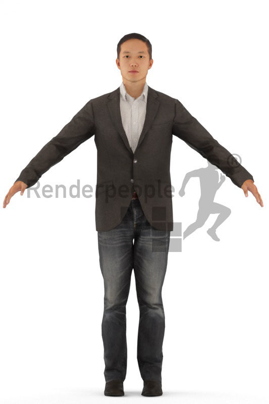 3d people business, asian rigged man in A Pose