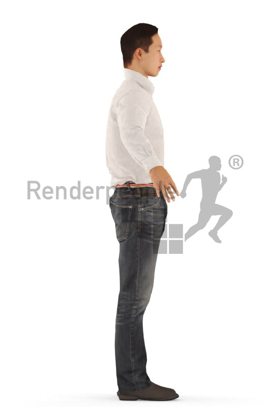 3d people business, rigged asian man in A Pose