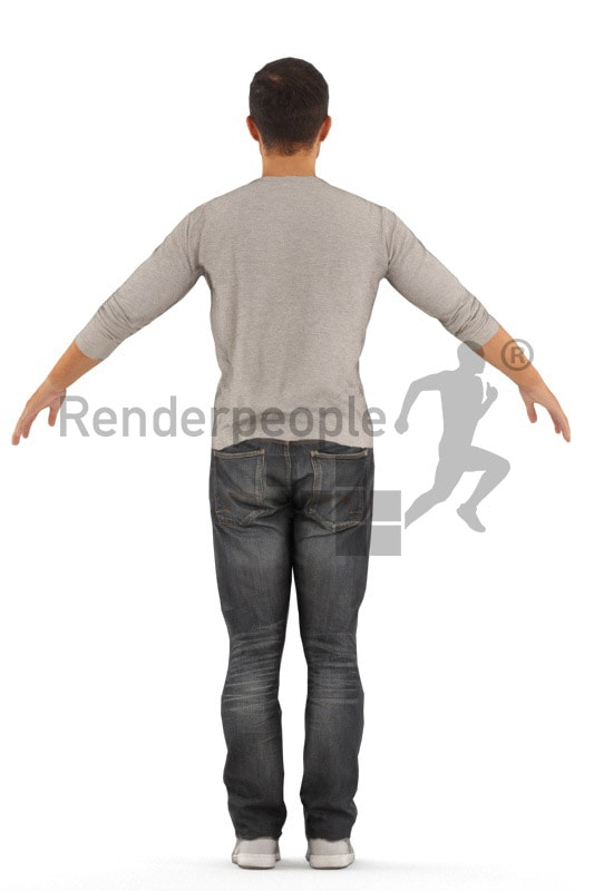 3d people casual, rigged asian man in A Pose