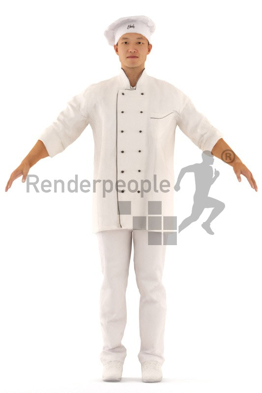 3d people cook, rigged asian man in A Pose
