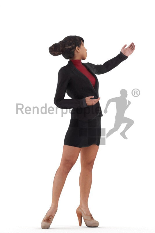 3D People model for animations – hispanic woman in business blazer and skirt, presenting