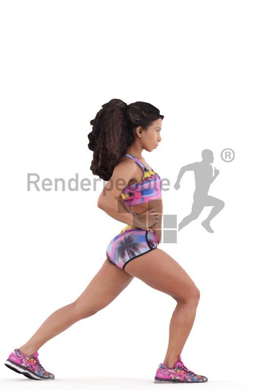 3D People model for 3ds Max and Maya – young latina in leger sports outfit, doing sports