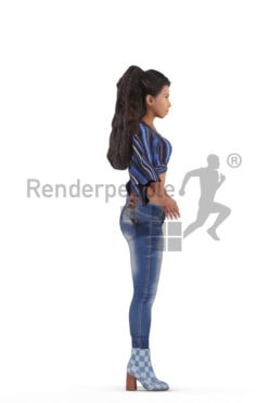 Rigged human 3D model by Renderpeople, black woman, casual