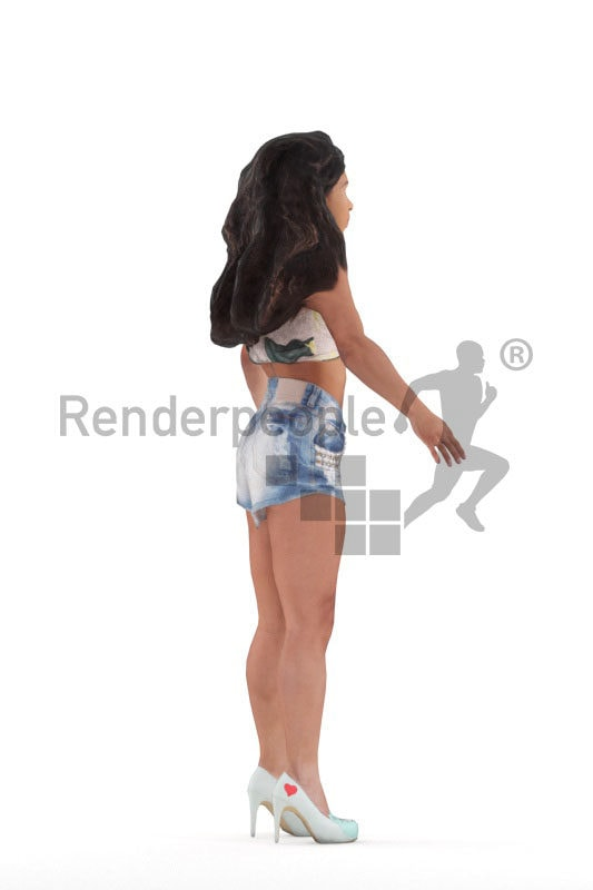 Rigged 3D People model for Maya and 3ds Max – black woman in casual summer clothes