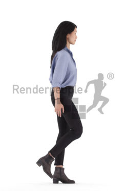 3d people smart casual, 3d asian woman, walking