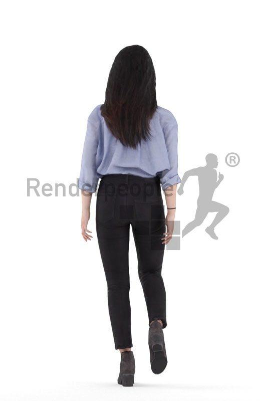 3d people smart casual, 3d asian woman, walking
