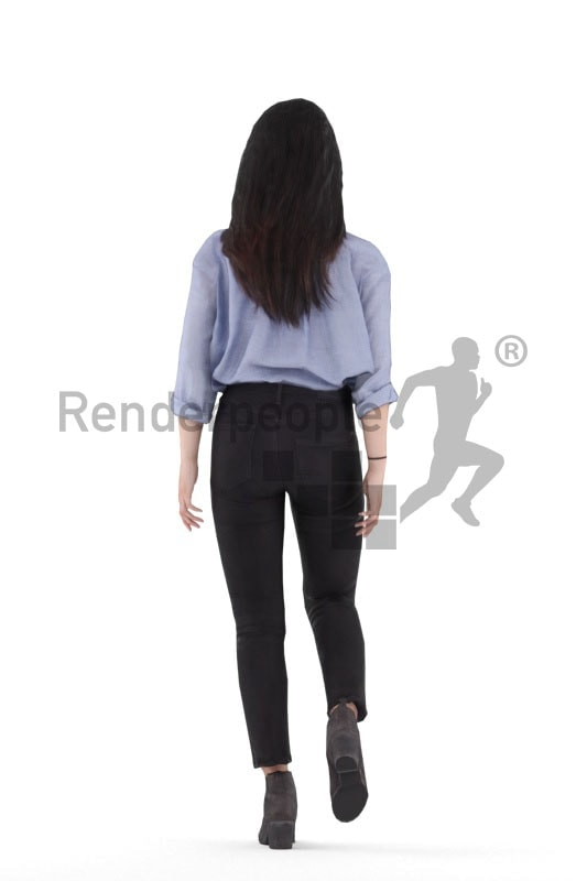 3d people smart casual, 3d asian woman, walking animated