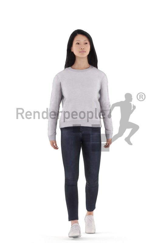 Animated 3D People model for realtime, VR and AR – asian woman in casual look, walking