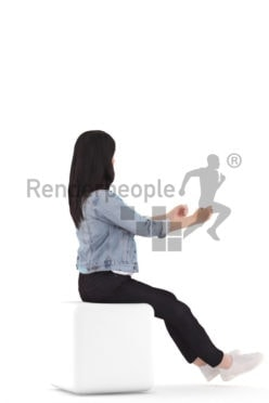 3D People model for 3ds Max and Cinema 4D – asian woman in casual outfit, driving