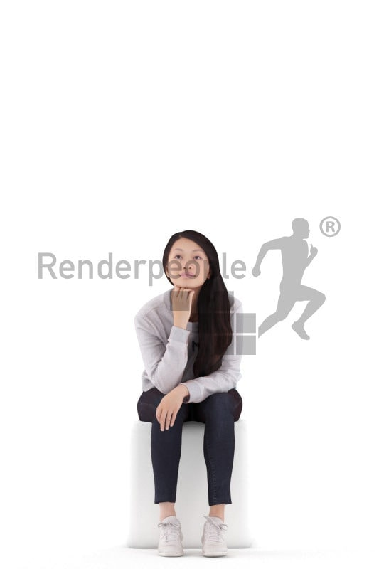 3D People model for 3ds Max and Maya – asian woman in a daily outfit, sitting and listening