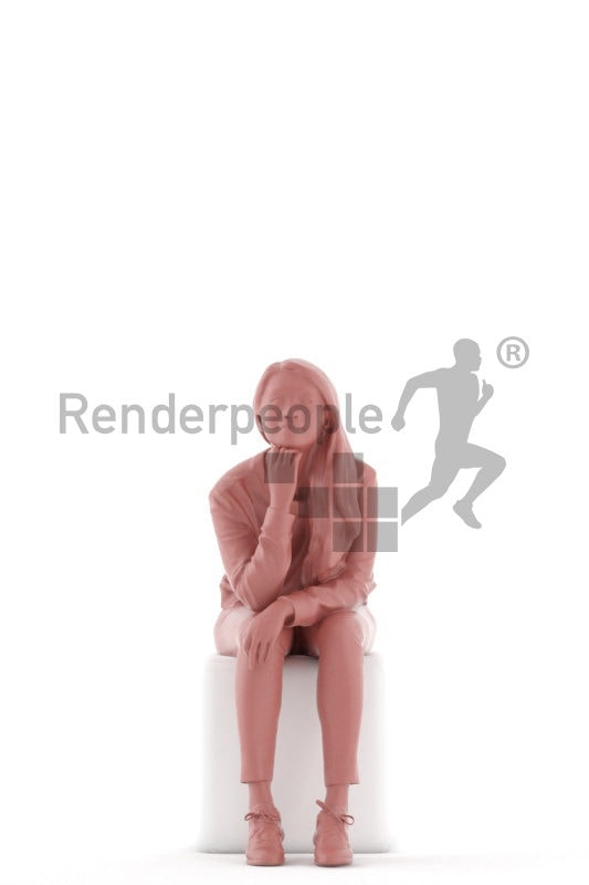 3D People model for 3ds Max and Maya – asian woman