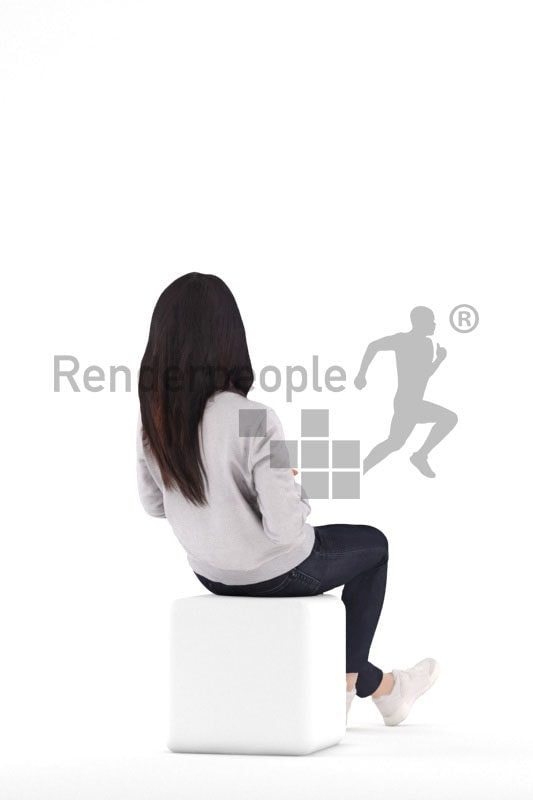 3d people casual, asian 3d woman sitting and holding mug