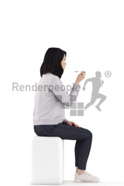 3d people casual, asian 3d woman sitting and eating
