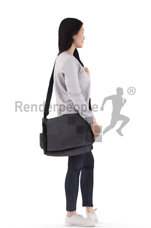 3d people casual, asian 3d woman standing and carrying a shoulderbag