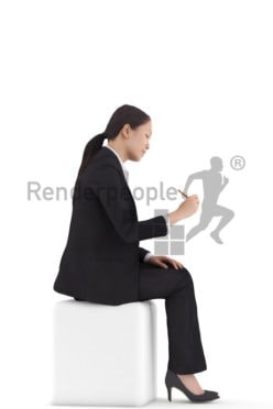 3d people business, asian 3d woman sitting and signing