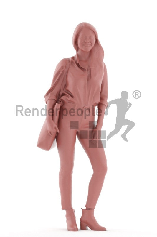 Posed 3D People model for visualization – asian female in a smart casual look, standing with a bag