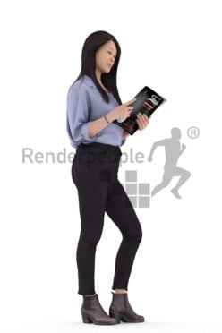 Posed 3D People model by Renderpeople – asian woman in a smart casual outfit, standing and reading a magazine