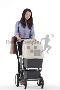 3D People model for 3ds Max and Maya – asia woman in daily outfit, carrying a buggy