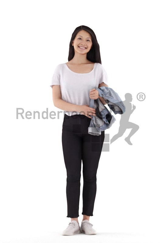 Posed 3D People model for visualization – asian woman, casual, standing and smiling