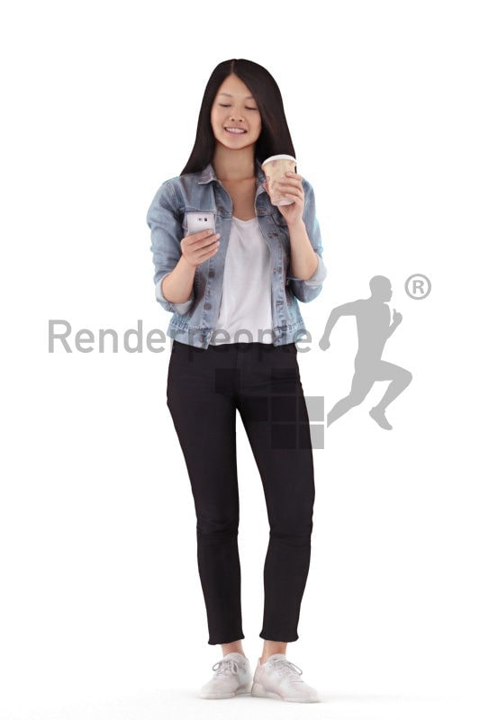 Posed 3D People model for renderings – asian woman in a casual outfit, texting and drinking coffee