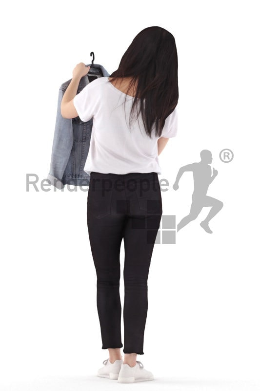 3D People model for 3ds Max and Blender – asian woman in daily outfit, looking for a jacket in the mall