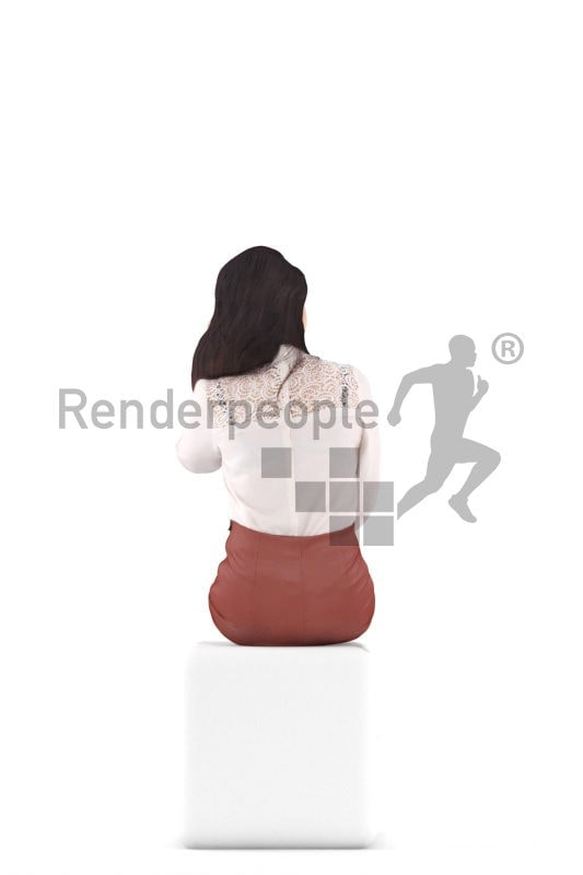 Photorealistic 3D People model by Renderpeople – asian woman in event/ business clothing, sitting