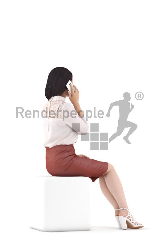 Photorealistic 3D People model by Renderpeople – asian woman in event/ business clothing, sitting and calling