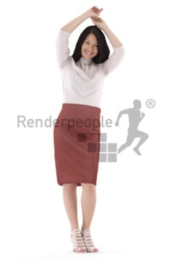 Photorealistic 3D People model by Renderpeople – asian woman in event dress, dancing