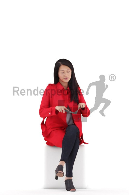 Posed 3D People model by Renderpeople – asian woman in red trenchcoat sitting and eating