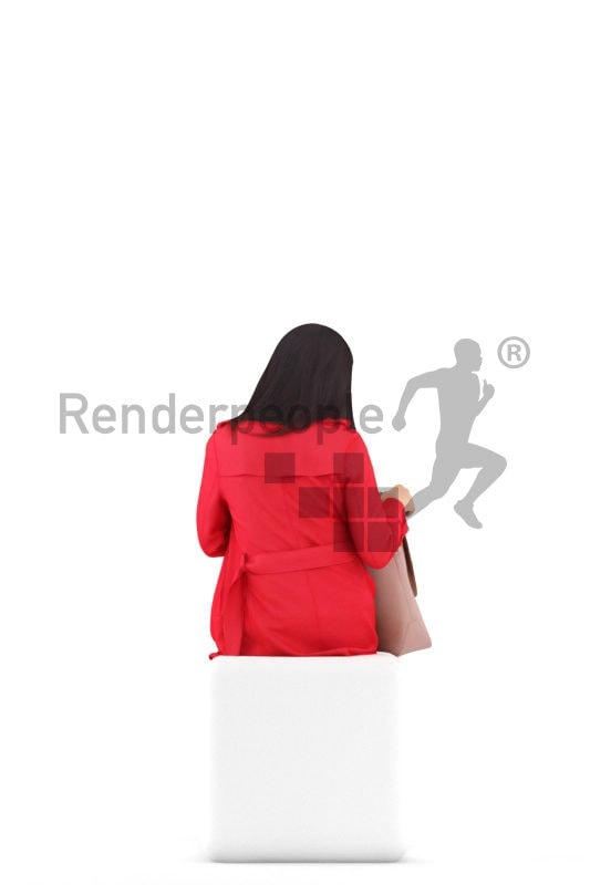 Realistic 3D People model by Renderpeople – asian woman in casual outdoor look, sitting and searching for something in her bag