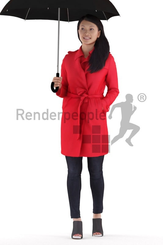 Realistic 3D People model by Renderpeople – asian woman in casual outdoor look, standing and holding an umbrella