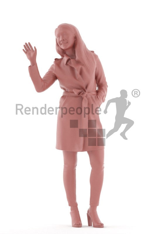 Realistic 3D People model by Renderpeople – asian woman in casual outdoor look, standing ad greeting