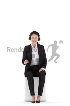 3D People model for 3ds Max and Cinema 4D – asian woman in business look, sitting on the audio desk