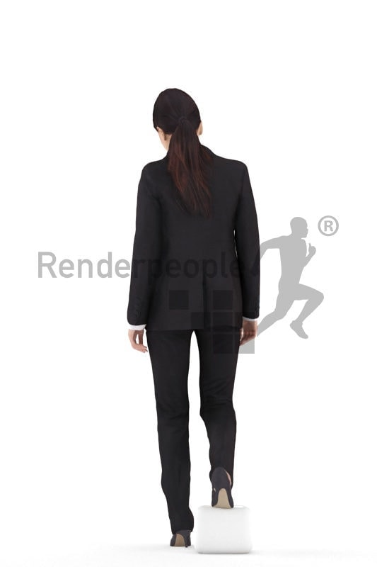 Scanned 3D People model for visualization – asian woman in business clothing, walking downstairs